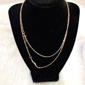 Jewelry - Gold Sideways Cross Layered Necklace NWOT 0020